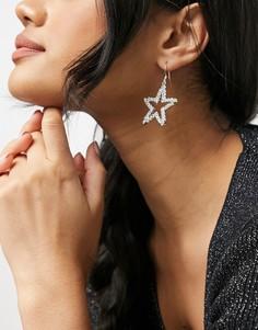 Серьги с застежкой-петлей в форме звезд с отделкой стразами Swarovski Krystal London-Очистить