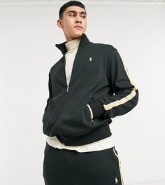 Эксклюзивная спортивная куртка черного цвета на молнии с золотистой отделкой и логотипом Polo Ralph Lauren x ASOS-Черный
