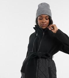 Комбинированное пальто для кормящих матерей и будущих мам со стеганой отделкой Mamalicious-Черный Mama.Licious