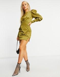 Атласное платье цвета хаки с длинными рукавами NaaNaa-Зеленый