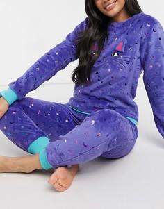 Флисовая пижама с фольгированной переливающейся отделкой Chelsea Peers-Голубой