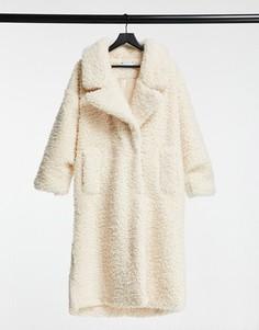 Кремовое oversized-пальто размера XL из искусственного меха ASOS DESIGN-Кремовый