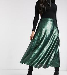 Зеленая юбка-трапеция миди с пайетками Native Youth-Зеленый