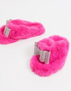 Ярко-розовые слиперы с отделкой стразами Public Desire Bunnie-Розовый