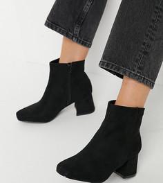 Ботильоны на каблуке для широкой стопы Simply Be Jane-Черный