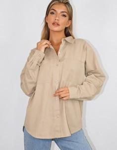Бежевая рубашка бойфренда в стиле oversized Missguided-Бежевый