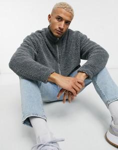 Серая спортивная куртка в стиле oversized из искусственного меха ASOS DESIGN-Серый