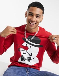 Красный свитер с принтом снеговика Jack & Jones Originals Christmas