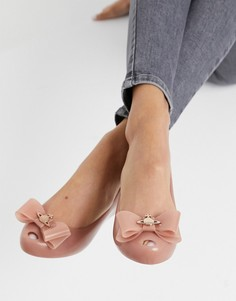 Бежевые туфли на плоской подошве с бантом и логотипом Vivienne Westwood for Melissa-Бежевый