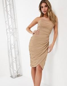 Блестящее светло-бежевое платье-футляр миди с драпировкой и запахом Rare London-Кремовый