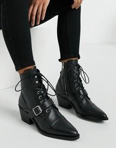 Черные кожаные ботинки на каблуке со шнуровкой и пряжкой AllSaints-Черный