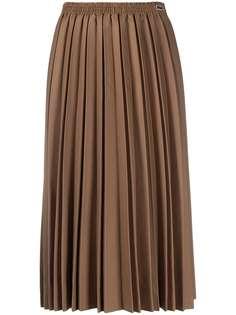 Lacoste плиссированная юбка миди с нашивкой-логотипом