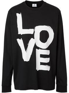 Burberry футболка с длинными рукавами и принтом Love