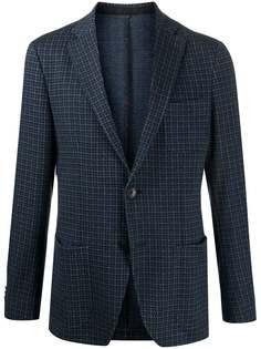 Etro однобортный пиджак с узором в елочку