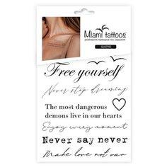 Miami tattoos Набор переводных тату Quotes черный