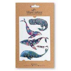 Miami tattoos Набор переводных тату Whales синий
