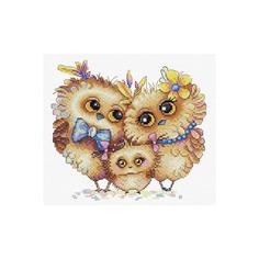 """Набор для вышивания крестом Жар-Птица """"Пернатая семья"""", 20x17 см, арт. М-232"""