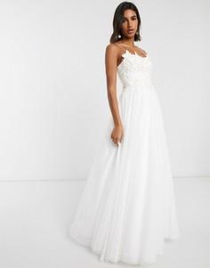 Свадебное платье с 3D вышивкой на лифе ASOS EDITION-Белый