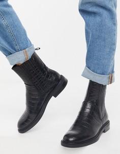 Черные кожаные ботинки челси с крокодиловым принтом Amina от Vagabond-Черный
