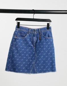 Джинсовая юбка-трапеция с монограммой Salsa x Barbie-Голубой