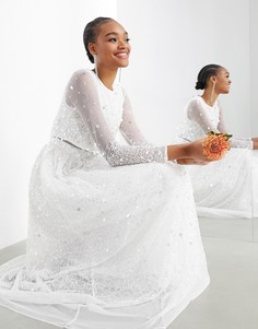 Свадебное платье с кроп-топом и россыпью пайеток ASOS EDITION Marie-Белый