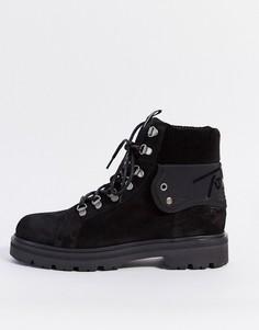 Черные замшевые ботинки на шнуровке со светоотражающей вставкой Tommy Jeans-Черный