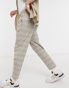 Бежевые зауженные брюки в клетку «принц Уэльский» ASOS DESIGN-Бежевый