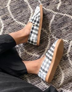 Кожаные туфли на плоской подошве в монохромную клетку Toms-Многоцветный