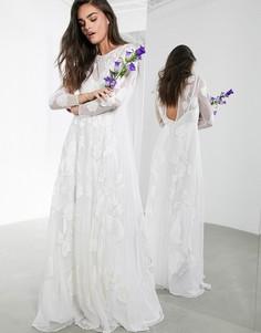Свадебное платье макси с цветочной вышивкой ASOS EDITION-Белый