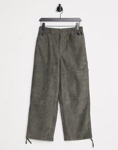 Свободные вельветовые брюки цвета хаки ASOS DESIGN-Зеленый