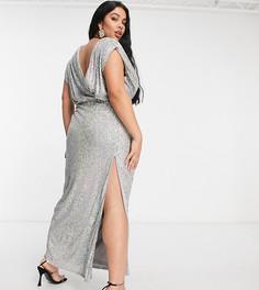 Эксклюзивное серебристое платье макси с запахом, глубоким вырезом и пайетками Jaded Rose Plus-Серебристый