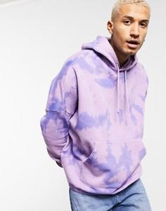 Однотонное фиолетовое oversized худи с принтом тай-дай ASOS DESIGN-Фиолетовый