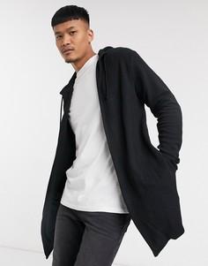 Удлиненный кардиган с капюшоном черного цвета Bershka-Черный