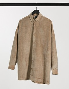 Светло-бежевая вельветовая oversized-рубашка ASOS DESIGN-Бежевый