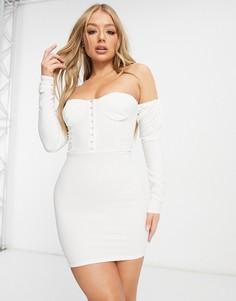 Белое платье мини с корсетной отделкой, открытыми плечами и объемными рукавами Femme Luxe-Белый