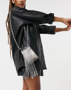 Серебристая сумка с ремешком через плечо и стразами Topshop-Серебристый