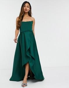 Эксклюзивное платье миди для выпускного вечера с ассиметричным подолом и корсетом цвета лесной зелени True Violet-Зеленый
