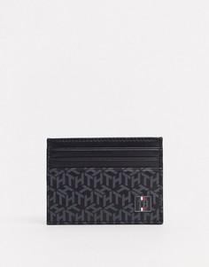 Кредитница из искусственной кожи с монограммным принтом и логотипом Tommy Hilfiger-Черный цвет