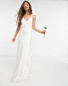 Атласное свадебное платье макси цвета слоновой кости Ghost London-Белый
