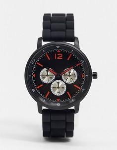 Черные мужские часы с силиконовым ремешком Topman-Черный