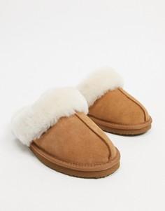 Светло-коричневые мюли-слиперы из овечьей шкуры Redfoot-Светло-коричневый