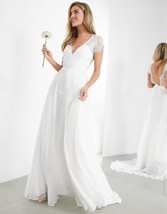 Свадебное платье с кружевом, глубоким вырезом и плиссированной юбкой ASOS EDITION Sophia-Белый