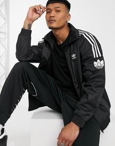 Черная олимпийка на застежке с 3D-логотипом adidas Originals-Черный