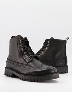 Черные кожаные ботинки-броги Selected Homme-Черный