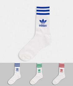 3 пары белых носков с 3 полосками разных цветов adidas Originals-Белый