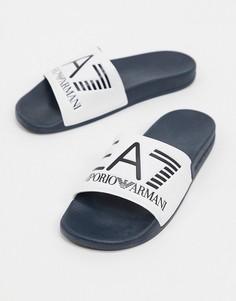 Шлепанцы белого/темно-синего цвета с логотипом Armani EA7-Белый