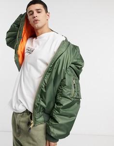 Куртка-бомбер цвета хаки с карманом MA1 Vintage Supply-Зеленый цвет
