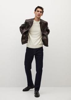 Байкерская куртка из наппы коричневого цвета - Apollo Mango