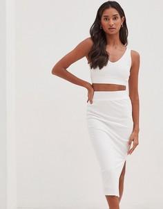 Белая фактурная юбка с разрезом до середины от комплекта 4th & Reckless Koda-Белый