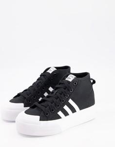 Черные кроссовки на платформе adidas Originals Nizza-Белый